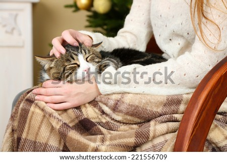 Woman and cute cat sitting on rocking chair in the front of the Christmas tree