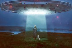 Woman and dog encounter an UFO