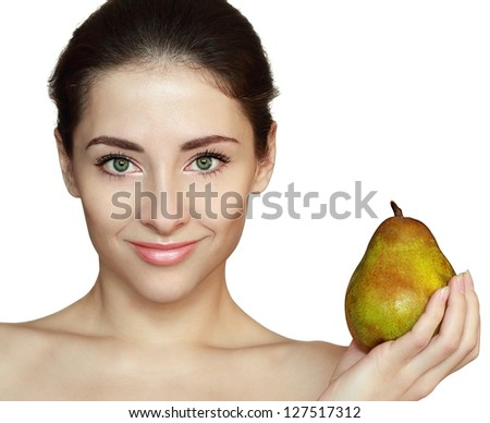 Woman and green pear isolated on white background. Closeup portrait with empty space