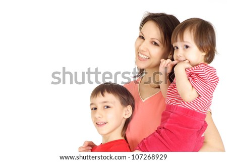 Woman and her children in a red sweater on a white background