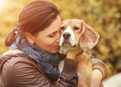 Woman and her favorite dog portrait
