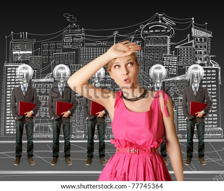 woman and lamp head businesspeople with red laptop in his hands