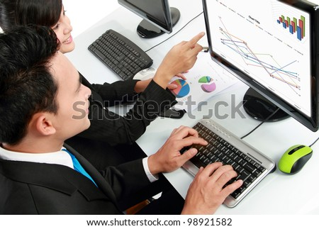 woman and man office worker working on computer in the office