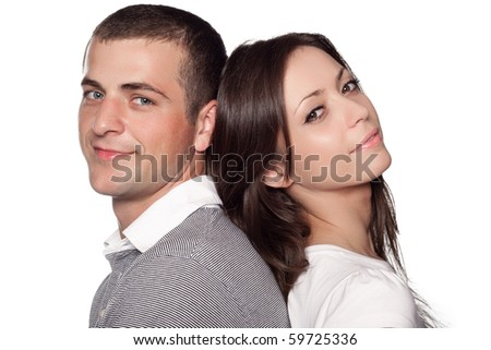 Woman and man posing on a white background