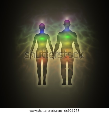 Woman and man, silhouette of human body with aura, chakras, energy