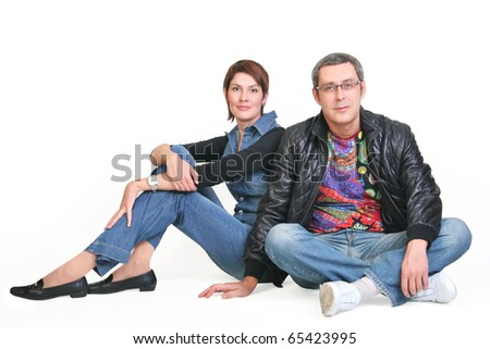woman and man, sit together