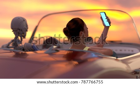 Stock Photo woman and robot drive a car, 3d illustration