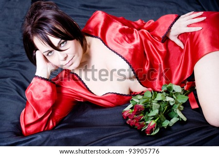 woman and roses