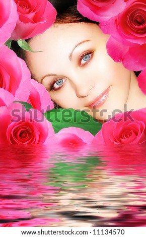 woman and roses - beauty and purity  concepts