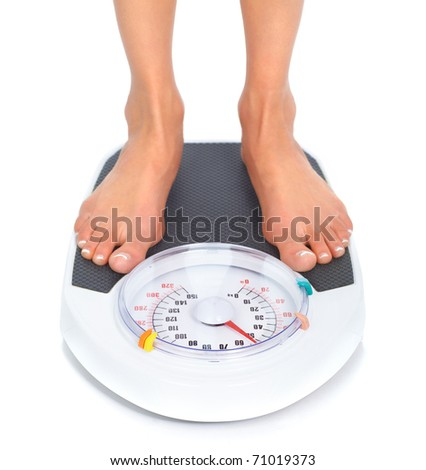 Woman and scales. Over white background