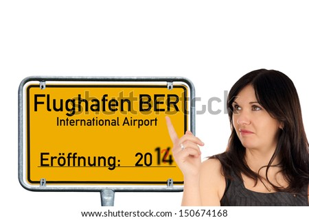 Woman and shield with the german words Berlin Brandenburg Airport / BBI airport
