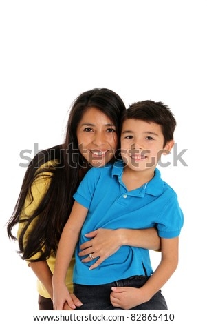 woman and son set on a white background