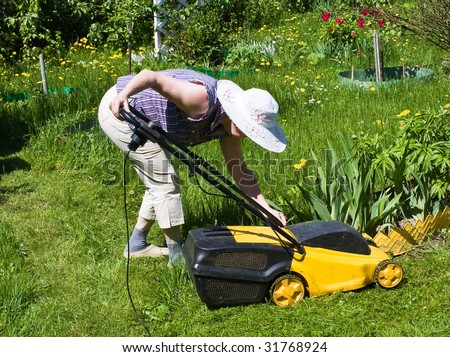 Woman and the lawn
