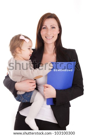 woman applying for a new employment holding little child