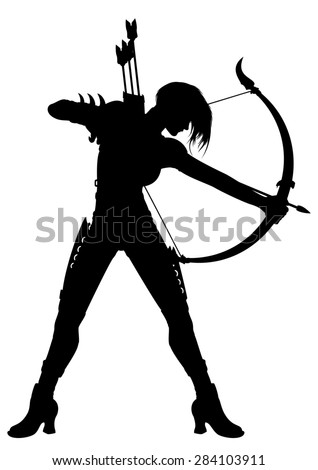 Stock Photo Woman Archer Silhouette. Illustration a fantasy woman archer with a bow and arrows or a horoscope symbol Sagittarius.