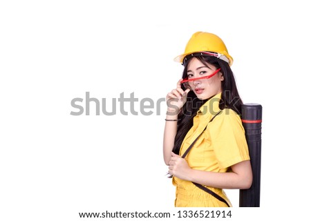 6902de202cd Woman architect wearing yellow helmet holding Drawing paper box.  Businesswoman builder on white background