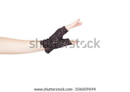 Woman arm with  black glove