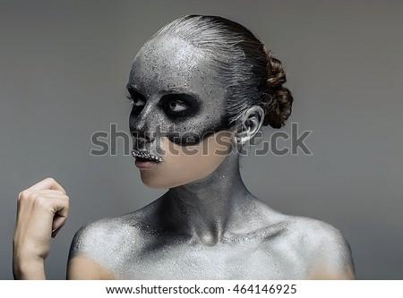 Stock Photo woman art make up death