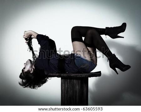 Woman as a vampire. Halloween face art