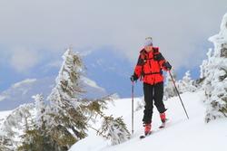Woman ascending during ski touring in the mountains, Romania