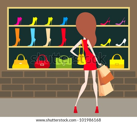 Woman at a shop-front. Raster illustration.