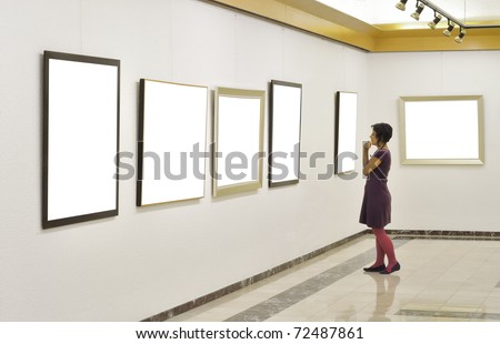 Woman at Art Gallery.Other images,