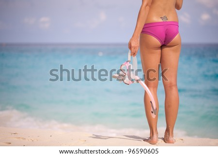 Woman at Beach Ready to Snorkel - stock photo