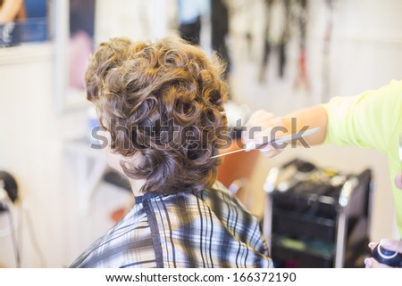 Woman at hair dressers