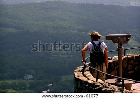 Woman at Mountain Overlook