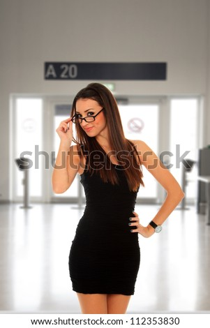 Woman at the airport terminal