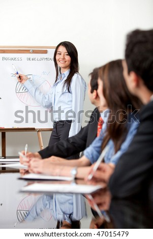 Woman at the office making a business presentation