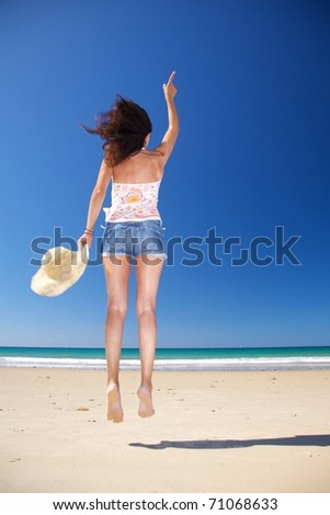 woman at Zahara beach in Cadiz Andalusia Spain