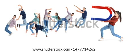 Woman attracting people with magnet on white background. Marketing concept #1477714262