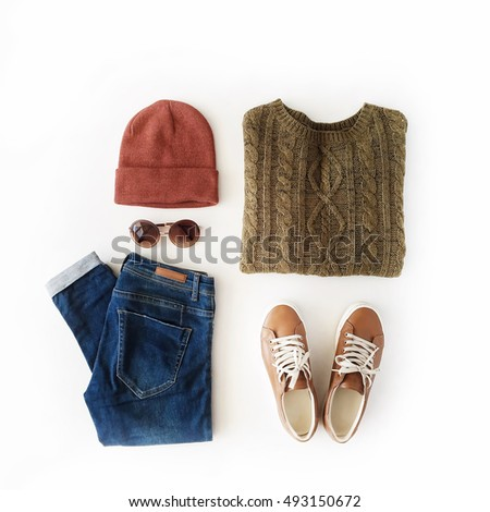 woman autumn and winter clothes collage on white, flat lay, top view