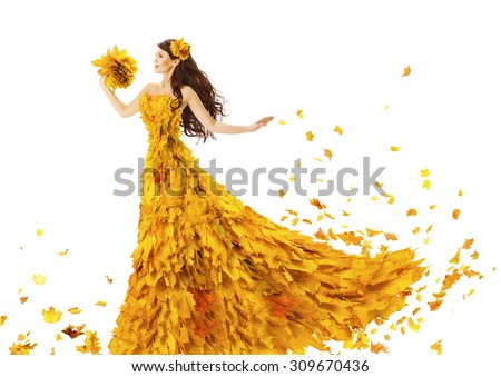 Woman Autumn Fashion Dress of Fall Leaves, Model Girl in Yellow Wedding Bride Gown on White, Creative Beauty