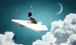 Woman Aviator floating in sky. Mixed media