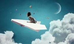 Woman Aviator floating in sky. Mixed media . Mixed media