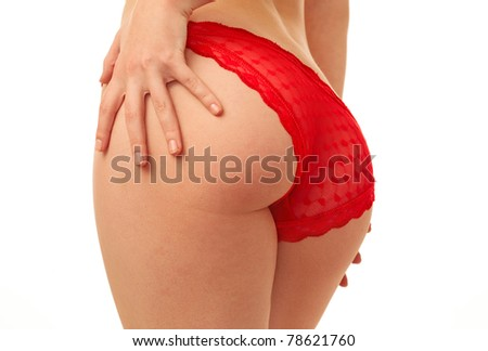 woman back in red panties over white background