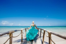 Woman back view relaxing on the white sandy beach enjoying sunny day on the tropical caribbean island landscape with turquoise sea and blue sky