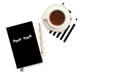 Woman background. Notebook with coffee. Flat lay