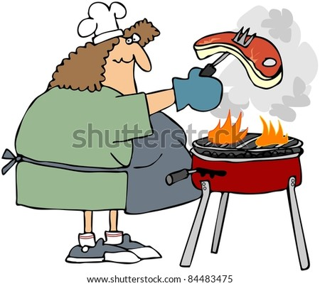 Woman Barbecuing A Steak
