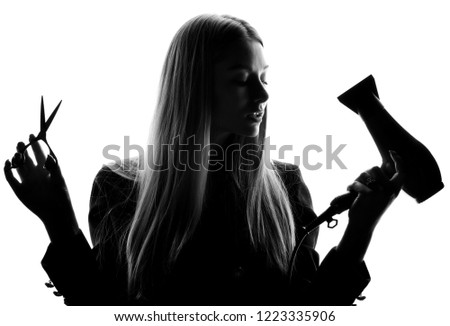Woman barber beautician with hair dryer   scissors isolated on white background. Hair style beauty concept