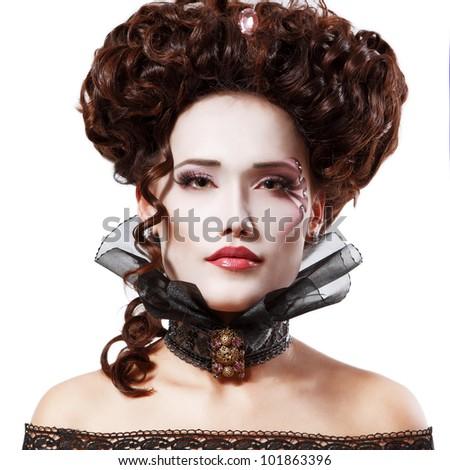 woman beautiful halloween vampire baroque aristocrat isolated on white ...