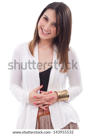 Woman beautiful portrait in positive view, big smile, beautiful model posing in studio over white background .