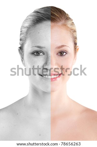 woman beauty concept before and after contrast