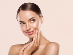 Woman beauty face healthy clean fresh skin natural make up beauty eyes and lipsfemale young model