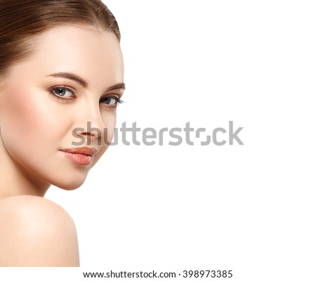 Woman beauty face portrait isolated on white with healthy skin #398973385