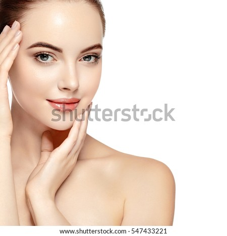 Woman beauty face portrait isolated on white with healthy skin #547433221