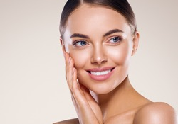 Woman beauty healthy teeth smile face healthy clean fresh skin natural make up beauty eyes and lipsfemale young model