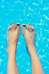 woman beauty legs in the swimming pool